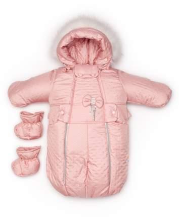 Комбинезон-трансформер конверт Malek-Baby бант розовая точка стежка, арт.110шм/2
