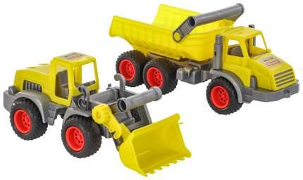 """Игровой набор Wader """"КонсТрак"""" трёхосный автомобиль-самосвал и трактор-погрузчик"""