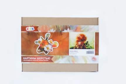"""Набор для изготовления картины шерстью Цветной """"Котенок и бабочка"""" SH020"""