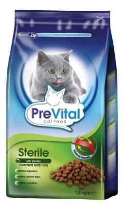 Сухой корм для кошек PreVital Sterile, для стерилизованных, домашняя птица, 1,6кг