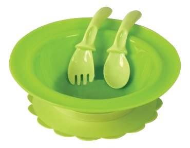 Тарелка детская Lubby Матовая на присоске с приборами зеленый