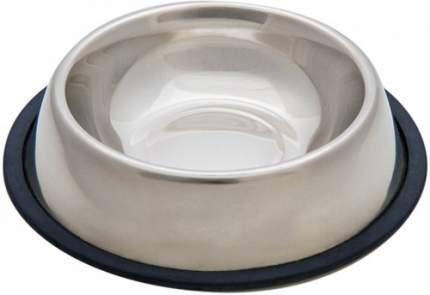Одинарная миска для собак VM, металл, резина, серебристый, черный, 0.7 л