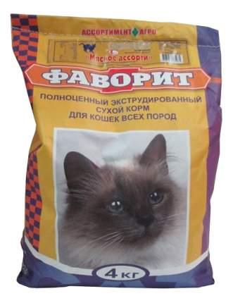 Сухой корм для кошек Фаворит, мясо, 4кг