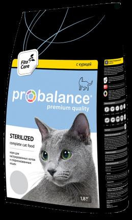 Сухой корм для кошек ProBalance Sterilized, для стерилизованных, курица, 1,8кг