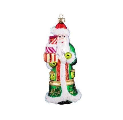 Елочная игрушка Holiday Classics Дед Мороз в узорной шубе с подарками GLT17114 14 см 1 шт.