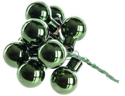 Гроздь стеклянных шаров Kaemingk на проволоке 25 мм зеленый бархат глянцевый, 12 шт 713023