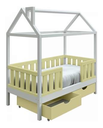 Кровать-домик Трурум KidS Сказка широкий бортик, ящики оливково-белая