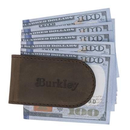 Зажим для денег кожаный Bouletta Money Clip, Коричневый