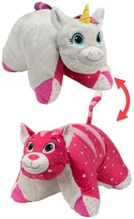Подушка 1 Toy Вывернушка плюшевая Белый Единорог Розовая Кошечка