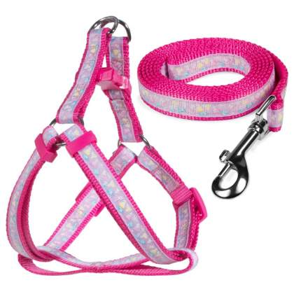 Шлейка и поводок для собак Triol Одуванчики-1, лилово-розовый, 260-370х12 мм; 1200х12 мм