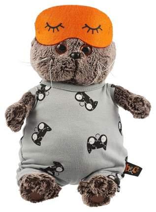 Мягкая игрушка «Басик» в сером комбинезоне и маске для сна, 25 см Басик и Ко