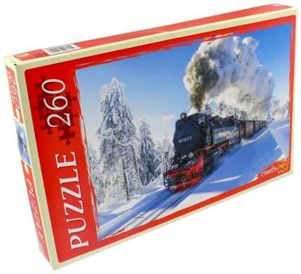 Пазл Рыжий кот Поезд в зимнем лесу КБ260-4011