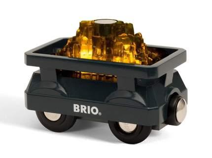 Вагон BRIO с грузом золота деревянной железной дороги со световыми эффектами 33896