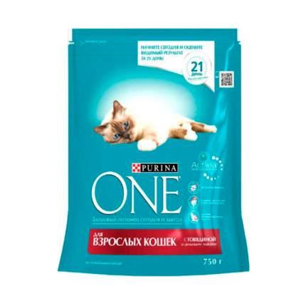 Сухой корм для кошек Purina One, говядина, пшеница, 0,75кг