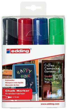 Набор маркеров меловых, клиновидный наконечник, стираемые, 4-15 мм 4 цвета в наборе
