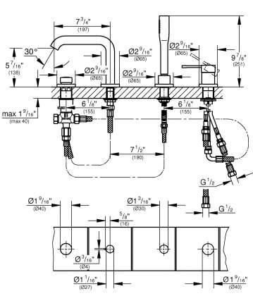 Смеситель для ванны на борт Grohe Essence New 19578DC1 нержавеющая сталь