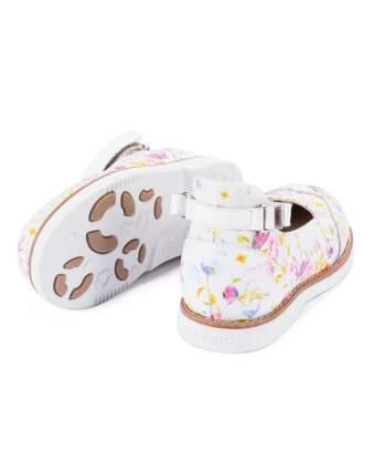 Туфли детские 25001 р.26 кожа, белый, цветы