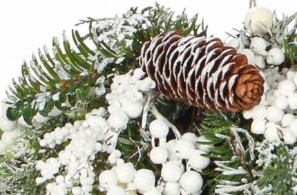 Подвесная композиция Хвойный Шар Глазго 25 см с шишками и белыми ягодами 83049