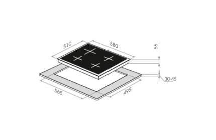 Встраиваемая варочная панель газовая MAUNFELD CGHE.64.3CB/G Black