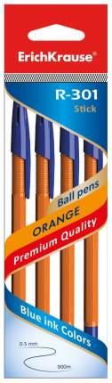 Ручка шариковая ErichKrause R-301 Orange в наборе из 4 шт.ук 0,7мм Синие