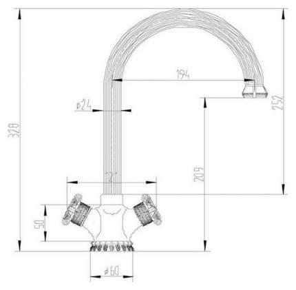 Смеситель для кухонной мойки Zorg A 2005K-BR 394358 античная бронза