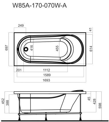 Акриловая ванна AM.PM Joy 170х70 без гидромассажа