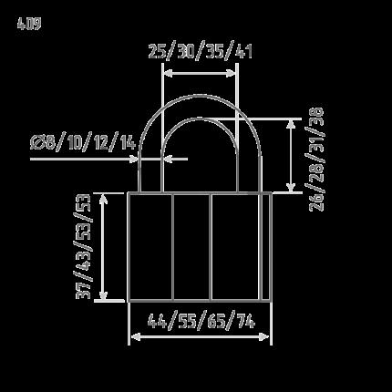 Замок навесной ЗН-409-70 мм (3кл.) (шт.) Нора-М