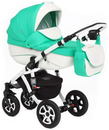 Коляска 3 в 1 Adamex Gloria Eco White Green 844S