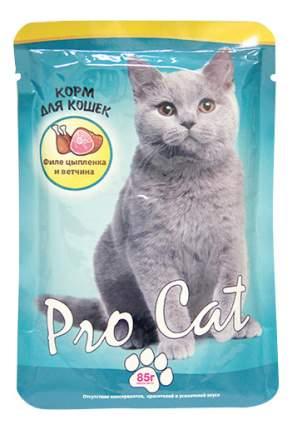 Влажный корм для кошек Pro Cat, цыпленок, ветчина, 85г