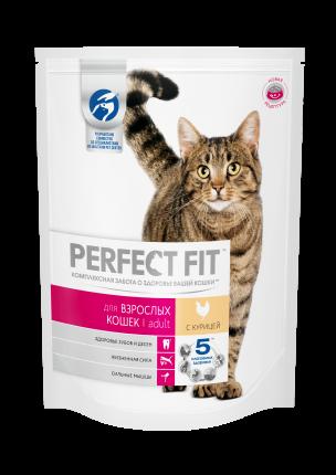 Сухой корм для кошек Perfect Fit Adult, курица, 0,65кг