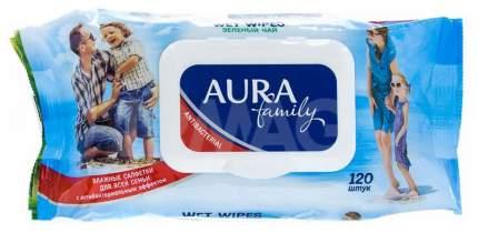 Салфетки влажные Aura Family Голубой, 120шт