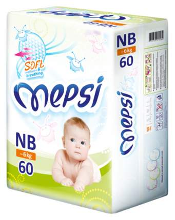 Подгузники для новорожденных Mepsi Soft&breathing NB (0-6 кг), 60 шт.