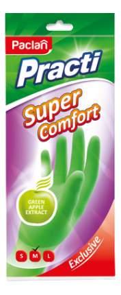 """Перчатки резиновые """"Practi, Super Comfort"""" с ароматом зеленого яблока, зеленые, размер М"""