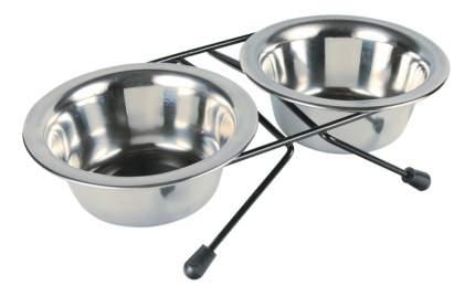Двойная миска для кошек и собак TRIXIE, сталь, серебристый, 2 шт по 0.2 л
