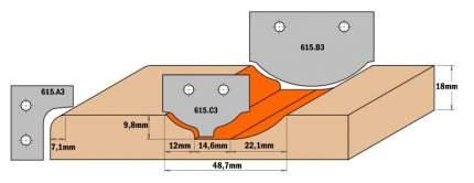 Нож твердосплавный 35x25x2 (профиль C3) CMT 615.C3