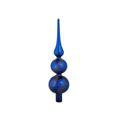 Holiday Classics Верхушка Блестящая Волна 31 см синяя, стекло GLB17166