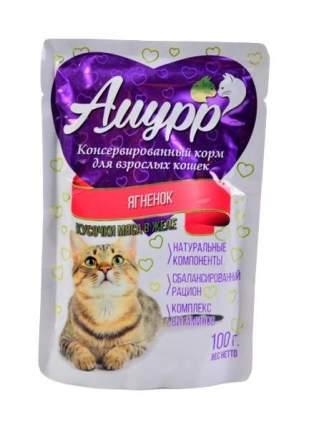 Влажный корм для кошек Амурр, ягненок, 24шт по 100г