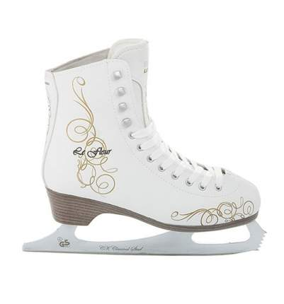 Коньки фигурные Спортивная Коллекция Le Fleur Fur белые, 34