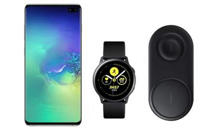 Смартфон Samsung Galaxy S10+ 128Gb Aq+часы Watch Active+беспроводная зарядка EP-P5200