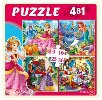 Пазлы 4 в 1 Рыжий кот Любимые принцессы П-6768
