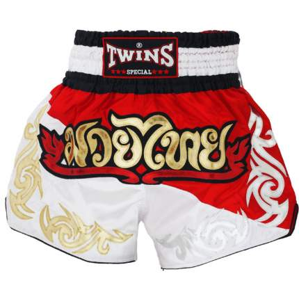 Шорты Twins T-8 Thai Boxing Shorts, red/white, M INT