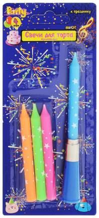 Набор свечей для торта Action! с музыкальным подсвечником, 4 шт.