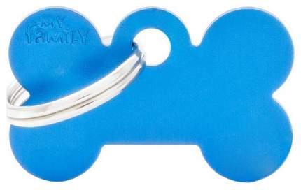 Подвеска для собак My Family Basic алюминиевый в форме косточки для животных 4 см, синий