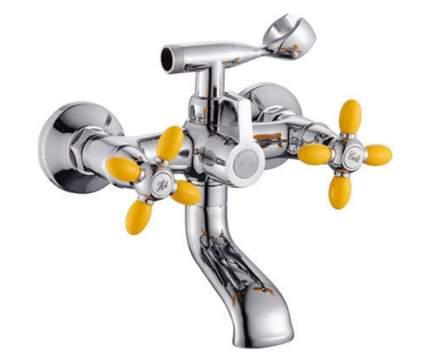 """""""Potato"""" смеситель для ванны, короткий излив, керамический переключатель, хром-желтый"""