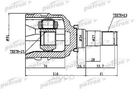 Шрус PATRON внутренний для Toyota Carina e 92-97, Corolla e11 97-01, e12 01-06 PCV1768