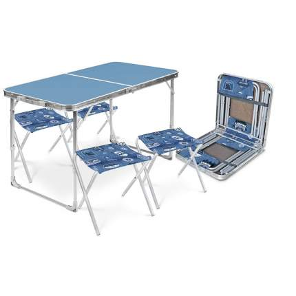 Туристический стол со стульями Nika ССТ-К2 серый/голубой