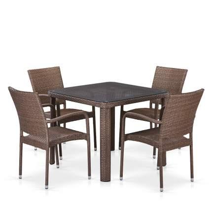 Комплект плетеной мебели T341B/Y376-W773-90x90 4Pcs Brown