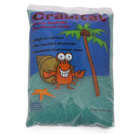 Натуральный песок для аквариумов CaribSea Crabitat для раков-отшельников зеленый, 1кг 0,9л