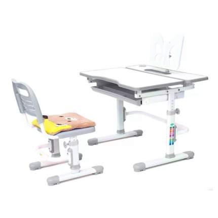 Комплект растущая парта и стул Rifforma Comfort-07 белый серый,