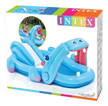 Intex игровой центр 221х188х86см бегемот с горкой и распылителем